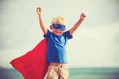 Superhero Kid. Young Happy Boy Playing stock image
