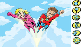 SuperHero kids. To the rescue.  With Vector, crests are on a separate layer, and can be removed Royalty Free Stock Image