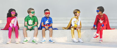 Superhero Kids Aspiration Imagination Playful Fun Concept royalty free stock photos