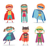 Superhero kids boys and girls. Cartoon vector illustration Royalty Free Stock Photos