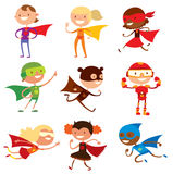 Superhero kids boys and girls cartoon vector Stock Image