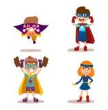 Superhero kids boys and girls cartoon vector illustrationt. Superhero kids boys and girls cartoon vector illustration. Super children illustration. Super hero Royalty Free Stock Image
