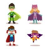Superhero kids boys and girls cartoon vector illustrationt. Superhero kids boys and girls cartoon vector illustration. Super children illustration. Super hero Stock Images