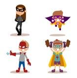 Superhero kids boys and girls cartoon vector illustrationt. Superhero kids boys and girls cartoon vector illustration. Super children illustration. Super hero Stock Image