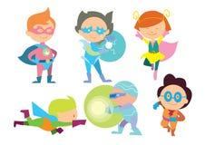 Superhero kids boys and girls cartoon vector. Superhero kids isolated on white ackground. Superhero costume for kids. Super child. Fun game Royalty Free Stock Images