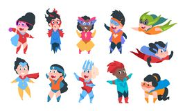Superhero kids. Cartoon boys and girls characters in superhero comic costumes, cute children playing. Vector kids stock illustration