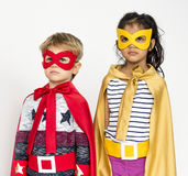 Superhero Kids Costume Isolated Portrait. Superhero Kids Costume Isolated in white Portrait stock photo