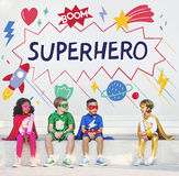 Superhero Kids Imagination Power Helper Concept stock images