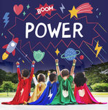 Superhero Kids Imagination Power Helper Concept stock photo