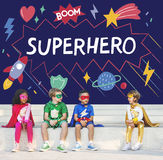 Superhero Kids Imagination Power Helper Concept. Superhero Kids Imagination Power Helper royalty free stock images