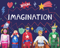Superhero Kids Imagination Power Helper Concept. Superhero Kids Imagination Power Helper stock photography