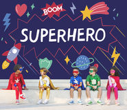 Superhero Kids Imagination Power Helper Concept. Children Dress up Superhero Kids Power Imagination stock image