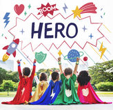Superhero Kids Imagination Power Helper Concept. Diverse Kids Superhero Kids Imagination Power Helper stock photo