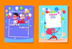 Superhero kids party. Preschool children in superheroes costumes. Birthday invitation vector background. Birthday party invitation card, costume superhero royalty free illustration