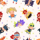Superhero_kids_pattern 库存例证