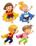 Superhero Kids Play Role on White Background. Illustration Stock Images