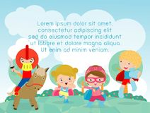 Superhero kids playing outside, Template for advertising brochure,your text, child and frame,Vector Illustration.  Stock Images