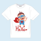 Superhero_kids_print_t-shirts 向量例证