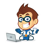 Superhero with Laptop. Vector clipart picture of a superhero cartoon character with laptop Royalty Free Stock Photo