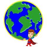 Superhero lifting the world Stock Image