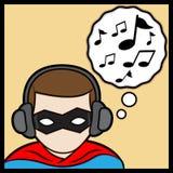 Superhero listening music. A cartoon illustrator of a superhero listening music Stock Photography