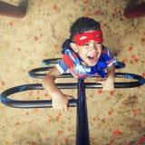 Superhero Little Boy Imagination Freedom Happiness Concept Stock Image