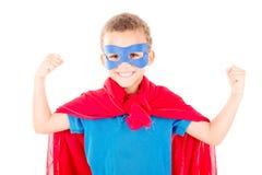 Superhero. Little boy pretending to be a superhero stock photography