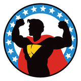 Superhero Logo. A logo icon of a superhero standing in victory Royalty Free Illustration