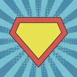 Superhero logo template at comic sunburst background royalty free illustration