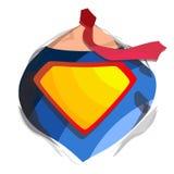 Superhero Logo Vector Diamond Shield Symbol Shape Toppen överhet för emblem Plan tecknad filmkomikerillustration vektor illustrationer