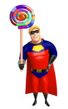 Superhero with lollipop Royalty Free Stock Image