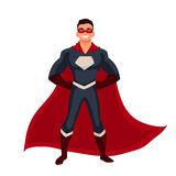 Superhero man in cape and usual clothes Stock Photography