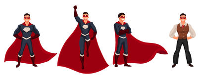 Superhero man in cape and usual clothes Stock Images