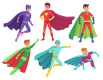 Superhero man characters. Cartoon muscular hero character in colorful super costume with waving cloak. Flying stock illustration
