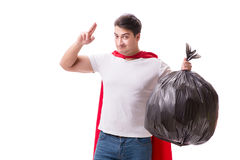 The superhero man with garbage sack isolated on white Stock Photography