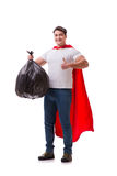 The superhero man with garbage sack isolated on white Stock Image