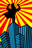 Superhero Man Muscles Silhouette Skyscrapers Royalty Free Stock Photography