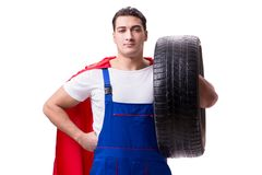 The superhero man with tyre isolated white background Stock Photography