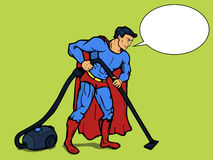 Superhero man with vacuum cleaner pop art vector Stock Photos
