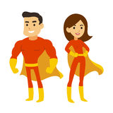 Superhero man and woman. Cartoon superhero couple, man and woman in red costumes with capes. Cute super hero vector illustration stock illustration