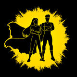 Superhero Man and Woman standing Royalty Free Stock Photos