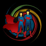 Superhero Man and Woman standing Royalty Free Stock Images