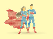 Superhero Man and Woman standing Royalty Free Stock Photography