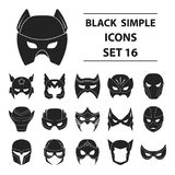 Superhero mask set icons in black style. Big collection of superhero mask vector symbol stock illustration Stock Photography