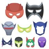 Superhero mask set icons in cartoon style. Big collection of superhero mask vector symbol stock illustration Royalty Free Illustration