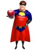 Superhero med Apple Royaltyfria Bilder