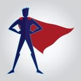 Superhero met kaapsilhouet Royalty-vrije Stock Foto