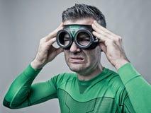 Superhero met slechte hoofdpijn Royalty-vrije Stock Afbeelding
