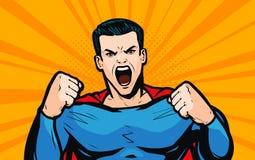 Superhero met vuisten Pop-art retro grappige stijl De vectorillustratie van het beeldverhaal stock illustratie