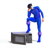 Superhero and a microwave Royalty Free Stock Images